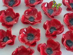 Ceramic Poppy Brooch - One  Handcrafted pottery flower Brooch - Remembrance day Poppy Gorgeous bright red ceramic Poppies! These flowers are hand built from earthenware clay by myself, kiln fired and hand painted with glaze. They<br> Ceramic Poppies, Ceramic Flowers, Clay Flowers, Poppy Flowers, Clay Projects, Clay Crafts, Felt Crafts, Remembrance Day Poppy, Cerámica Ideas