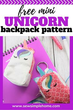 Make your own mini unicorn backpack with this free sewing tutorial and free unicorn face svg.