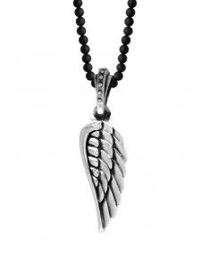 King Baby - Silver Wing on Onyx Bead Necklace