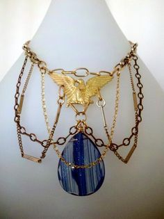 The Montana Sky Calls to You - vintage gold eagle and blue sunstone necklace $42.00