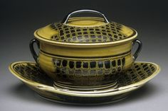 Linda Sikora's Tureen & Stand, 2001. Linda Sikora was a featured artist in the February 2015 issue of Ceramics Monthly. http://ceramicartsdaily.org/ceramics-monthly/ceramics-monthly-february-2015/