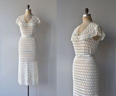 Forever Fair crochet dress • 1930s knit dress • cotton crochet 30s dress