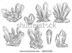 Vector set of hand drawn crystals