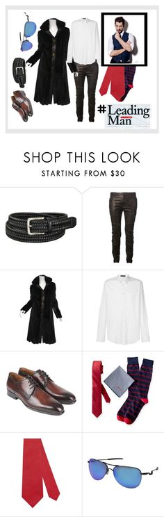 Elegance In A Fur Coat by jjantiq on Polyvore featuring Versace, Balmain, J. Mendel, Oakley, Gucci, Mark & Graham, Uniqlo, men's fashion, menswear and MensFashion