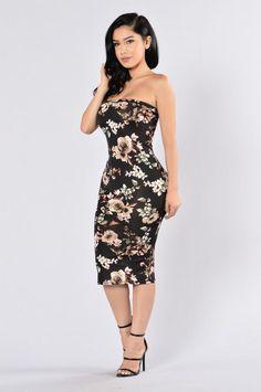 Flowers In Bloom Tube Dress - Black Multi