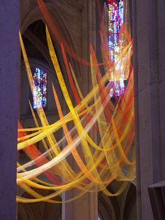 Beautiful streamers ~ Pentecost visual art - I'd love to do this in our church.....but we don't have ladders long enough.....but looks beautiful xx