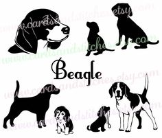 Beagles SVG - Beagle Silhouette SVG - Dog SVG - Digital Cutting File - Vector - Cricut Cut - Instant Download - Svg, Dxf, Jpg, Eps, Png by cardsandstitches on Etsy