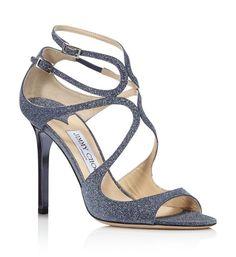 ace60714bb4 NIB Jimmy Choo Lang Navy Blue Fine Glitter Leather Sandals Heels 7 37  850  New