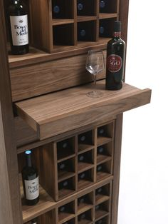 """Cru Riva 1920 Cru Riva 1920 wooden container and """"wine cellar"""" for wine or beer bottles. CRU is offered with accessories made of wood and metal to meet all customer requirements: horizontal wooden she Home Bar Cabinet, Wine Rack Cabinet, Drinks Cabinet, Wine Racks, Wine Rack Design, Wine Cellar Design, Wine Shelves, Wine Storage, Wooden Shelves"""