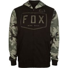 Fox block letter embroidery across front. Camo Hoodie, Fleece Hoodie, Hoodie Jacket, Sweater Hoodie, Hooded Sweatshirts, Cool Hoodies, Men's Hoodies, Jogging, Camo Fashion
