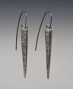 Striped Taper Earrings: Sophie Hughes: Silver Earrings - Artful Home
