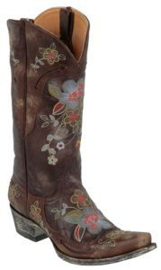 Old Gringo Ladies Chocolate Bonnie Volcano Goat w/Embroidered Flowers Cowboy Boots $519.99