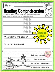 There are 20 pages of reading comprehension worksheets. Each page contains 3 or 4 sentences passage and 2 questions. Students have to cut and paste the puzzle pieces. This product is suitable for Kindergarten and first grade students. You can use them as classroom activities, morning work, homework, and literacy centers. Kindergarten | Kindergarten Worksheets | First Grade | Puzzles | Reading Comprehension | Summer Reading Comprehension | Printables | Worksheets | Motor Skills Kindergarten Blogs, Kindergarten Worksheets, Classroom Activities, Reading Comprehension Worksheets, Common Core Reading, Teaching First Grade, 2nd Grade Classroom, Teacher Organization, Morning Work