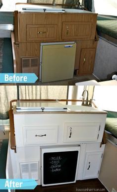 Pop Up Camper Kitchen Makeover:  We gave the cabinets a new coat of paint, changed out the hardware, installed a new faucet, and replaced the counter tops.