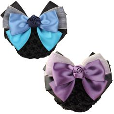 LiveZone (Pack of 2) Women Hair Bun Cover Net Snood Hairnet Bowknot Decor Barrette Hair Clip Bow Lace Flower Hair Accessories ,2 Colors-Purple and Blue ** See this great product.