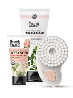 Organic Facial Line Deluxe Set – Nourish Organic. On sale for $79.95 (online only).  Get smoother, clearer, younger-looking skin with the Organic Facial Line Deluxe Set. The two-speed facial tool and moisturizing cleanser cleans, exfoliates, and massages in a single step. The set also includes the Lightweight Moisturizing Organic Face Lotion.