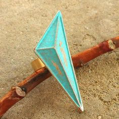verdigris patina upcycled chunky geometric ring by lluviadesigns, $14.00