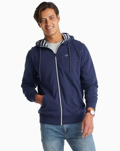 This men's navy blue Southern Tide hoodie jacket with a full zipper and Skipjack embroidery is the layer you'll grab every time to keep warm. Hoodie Jacket, Bomber Jacket, College Guys, Nautical Rope, Morning Running, Southern Tide, Upper Deck, Keep Warm, Jacket Style