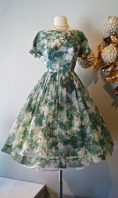 1950s Floral Party Dress Vintage 50s Chiffon by xtabayvintage, $248.00