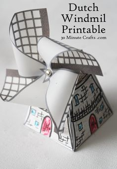 Dutch Windmill Printable - print out the pieces, color, cut out, and glue together. A great craft for kids learning about The Netherlands. Craft Activities, Preschool Crafts, Paper Toys, Paper Crafts, Crafts To Make, Crafts For Kids, World Thinking Day, Freebies, Dutch Windmill