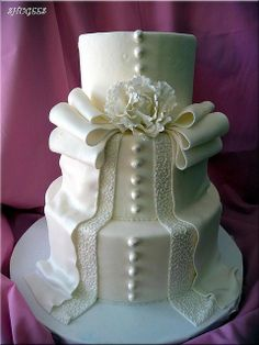 White Wedding Dress Cake