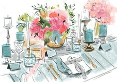 Table with wedding decor , Wedding Decorations, Table Decorations, Wedding Table, Royalty Free Stock Photos, Sketches, Illustration, Image, Home Decor, Events
