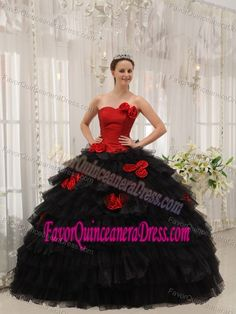 Red and Black Strapless Satin and Tulle Quinceanera Dress with Flowers and Layers