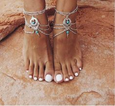 2 pces, chaîne de perles Turquoise cheville. Plage, mariage, bijoux de pied. Sandales aux pieds nus, ensemble, Bohème, Boho (livraison gratuite)
