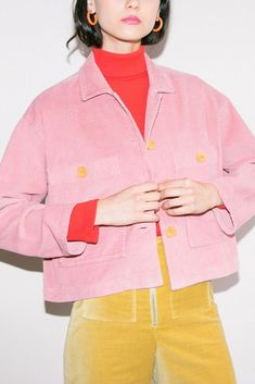 Gorgeous candy pink corduroy women's jacket in short, boxy style. styled with colour blocking red polo neck and mustard yellow corduroy pants. Women's Dresses, Fashion Outfits, Womens Fashion, Fashion Tips, Denim Outfits, Mein Style, Inspiration Mode, Couture, Colorful Fashion