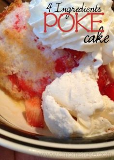 Strawberry Angel Food Poke Cake Recipe #ValentinesDay