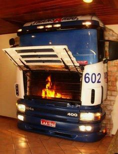 Hardcore fireplace made from old truck (projects, crafts, DIY, do it yourself, interior design, home decor, fun, creative, uses, use, ideas, inspiration, 3R's, reduce, reuse, recycle, used, upcycle, repurpose, handmade, homemade, car parts, front, wall, decorative, crazy)