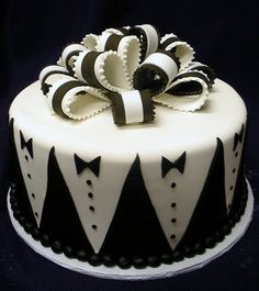 Grooms cake with tuxedo patterns and black and white bowtie large