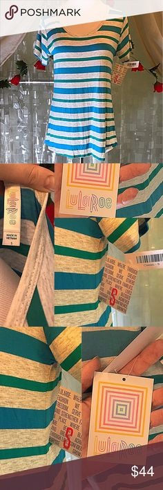 LuLaRoe CLASSIC T size SMALL NWTs LLR CLASSIC T shirt / top size SMALL NWT. Never worn and in perfect condition with tags attached. Is light heather gray with blue and teal / green horizontal stripes. Has short sleeves and wide crew neck. So many possibilities of how to wear this according to LLR. Would match so many different LuLaRoe leggings and skirts! Perfect for summer or layering year round! I paid $55 for this. LuLaRoe Tops Tees - Short Sleeve
