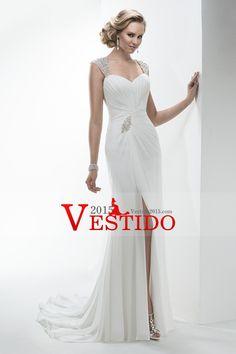 Vestido 2014 de boda de la vaina del hombro Off / columna de cuentas y con volantes con hendidura gasa