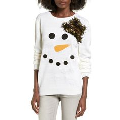 Women's Ten Sixty Sherman Snowman Embellished Sweater (1325 TWD) ❤ liked on Polyvore featuring tops, sweaters, snow white, white button sweater, white top, embellished tops, textured sweater and white embellished top
