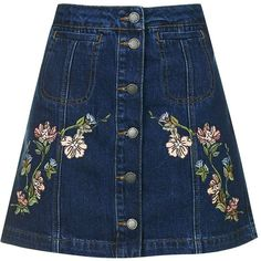 TopShop Moto Floral Embroidered Skirt (4.255 RUB) ❤ liked on Polyvore featuring skirts, mini skirts, bottoms, slim skirt, a line mini skirt, button down skirt, a-line skirts and blue mini skirt