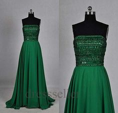 2013 Hot One Strap Long Sheer Chiffon Emerald Green Prom Dress -in ...