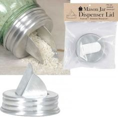 Mason Jar Grain Dispenser Lid - Regular Mouth // Reusing mason jars with different lid attachments make the jars last longer.Buying in bulk and storing food saves packaging from going to landfill. #zerowaste #plasticfree #aff