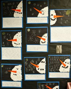 "Well, since we were writing about something we would do at night if we were snowmen, I used black paper instead and had the kids draw a little moon{ish} for their snowman to look at.  Book: If I were a snowman at night.The writing prompt was, ""If I were a snowman, at night I would…"".  I LOVE how different they all turned out!!!!!"