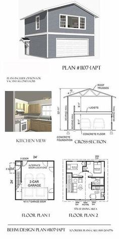 2 Car Garage Plan with Two Story Apartment - x From Behm Designs. Best to use in 2 Car Garage Plans, Wide Garage Plans, All Garage Plans, Apartment Garage Plans, Two Story Garage Plans. Ready to use a Wide range of Garage Plan according Your Size style Two Story Garage, 2 Car Garage Plans, Garage Apartment Plans, Garage Apartments, Garage Apartment Interior, Above Garage Apartment, Bedroom Apartment, Garage Ideas, Apartment Layout