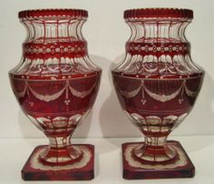 """Pair Vintage Pedestal Vases Cranberry Ruby Cut to Clear 8 1 2"""" Tall 