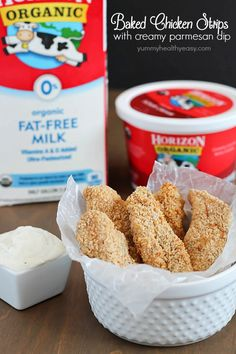 Baked Chicken Strips dipped in a creamy parmesan dip - kid and adult friendly dinner everyone will love! Yummy Treats, Yummy Food, Delicious Dishes, Tasty, Baked Chicken Strips, Chicken Nuggets, Snack Recipes, Cooking Recipes, Healthy Recipes