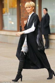 Zendaya Coleman wearing Stuart Weitzman the Highland Boots