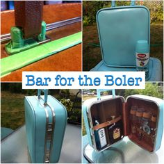 A Bar for my Boler I purchased the brown vintage bar-suitcase for $2 at a garage sale.  I then taped off all the finishings with small pieces of green painters tape using a toothpick to push it in at the seems - this took a long time but produced excellent results.  Finally spray painted with Krylon and peeled away the tape.  I'm very happy with the finished product, just hope it holds up to use.