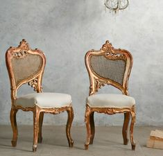 Vintage Shabby Gilt Rococo Side Chairs Cane & Linen
