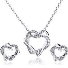 Nova chegada de jóias 18 k banhado a ouro rhinestone coração colar de casamento conjunto com cristal austríaco
