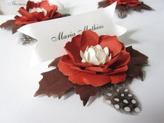 Handmade Paper Flower Place Cards by carrieklein on Etsy