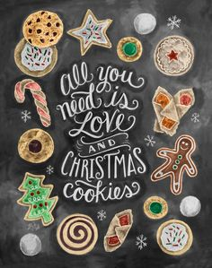 All You Need Is Love & Christmas Cookies - Print