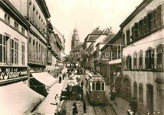 AK / Ansichtskarte Pirmasens Historische Metz Aufnahme von 1905 Hauptstrasse mit Strassenbahn Kat. Pirmasens 0