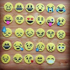 Perler beads emojis.